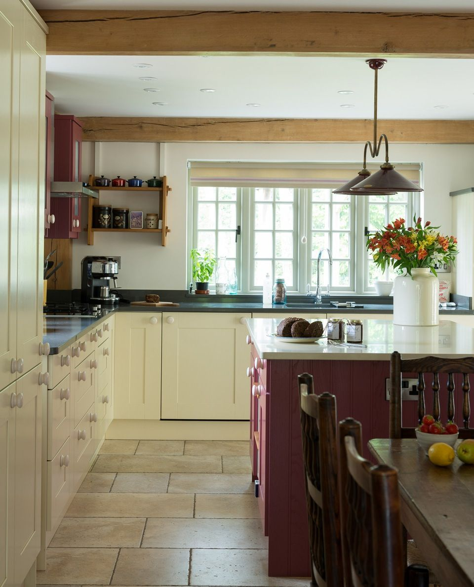Border oak country style kitchen with a splash of colour home