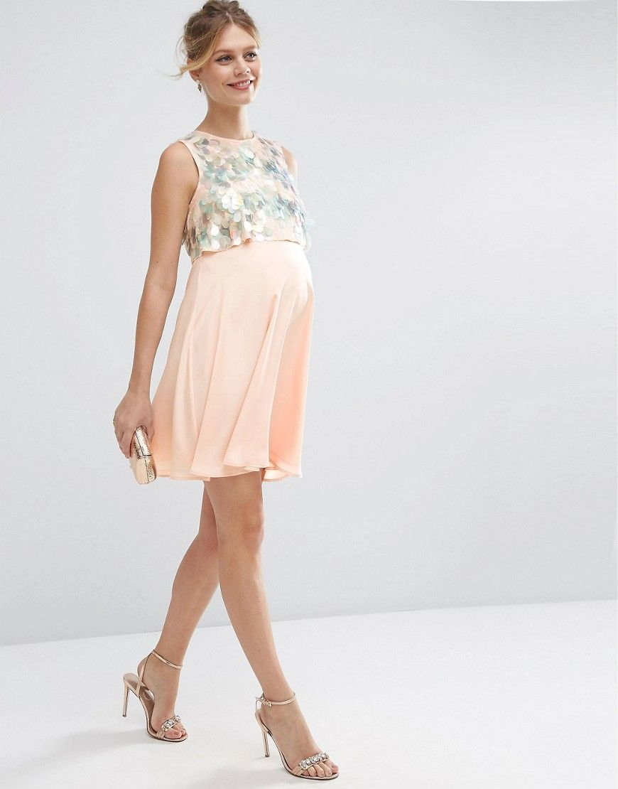 ASOS Maternity Holographic Sequin Mini Dress at asos.com