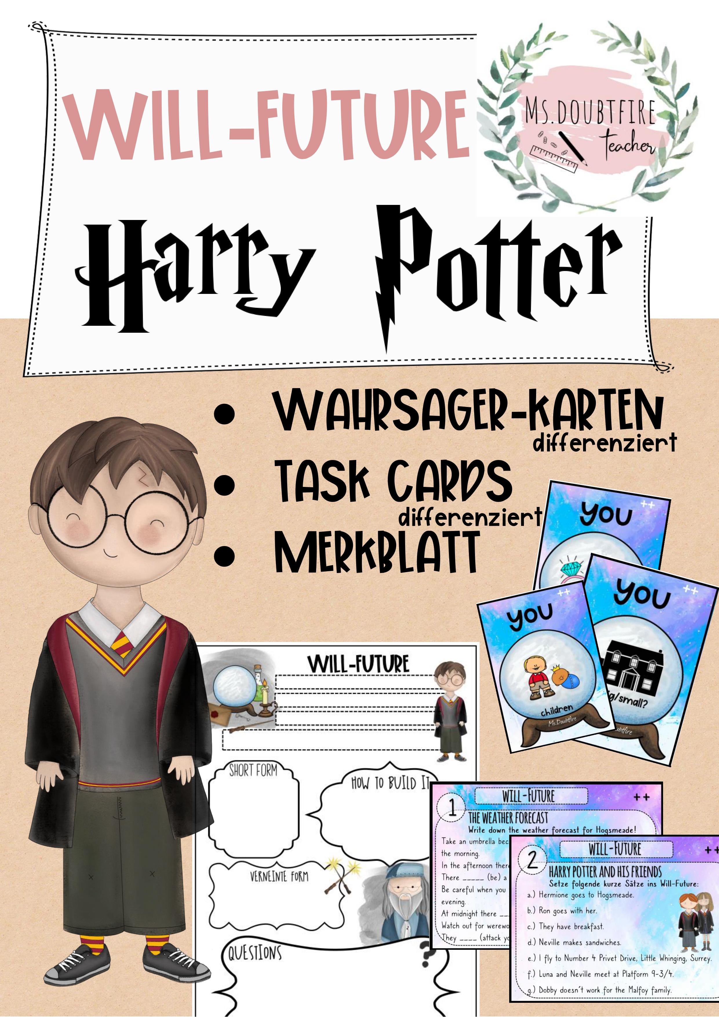 Harry Potter Will Future Task Cards Wahrsager Karten Merkblatt Schulprojekte Wahrsager Karten