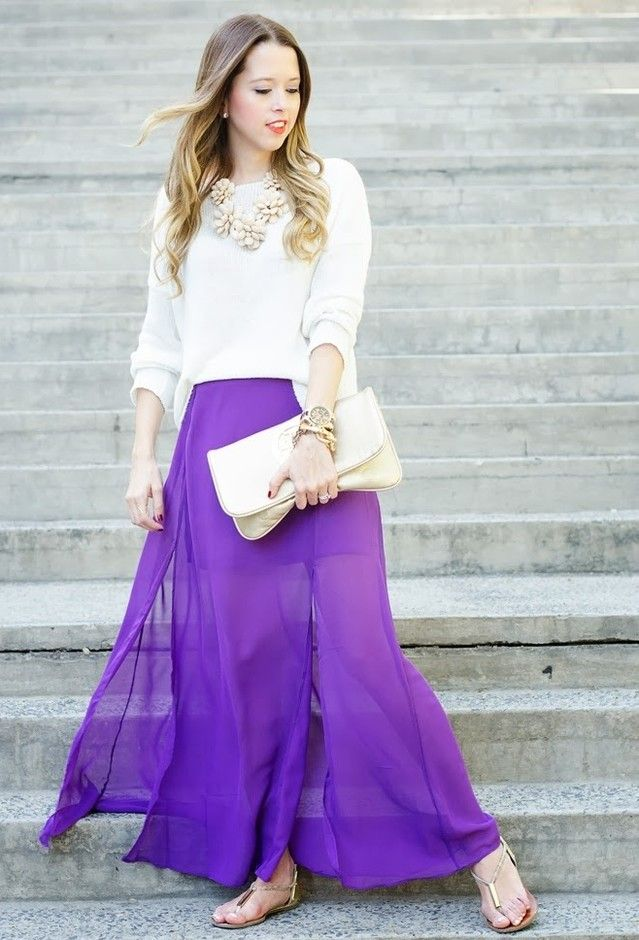 Pretty Long Skirts for a Feminine Look in Spring | Street styles ...