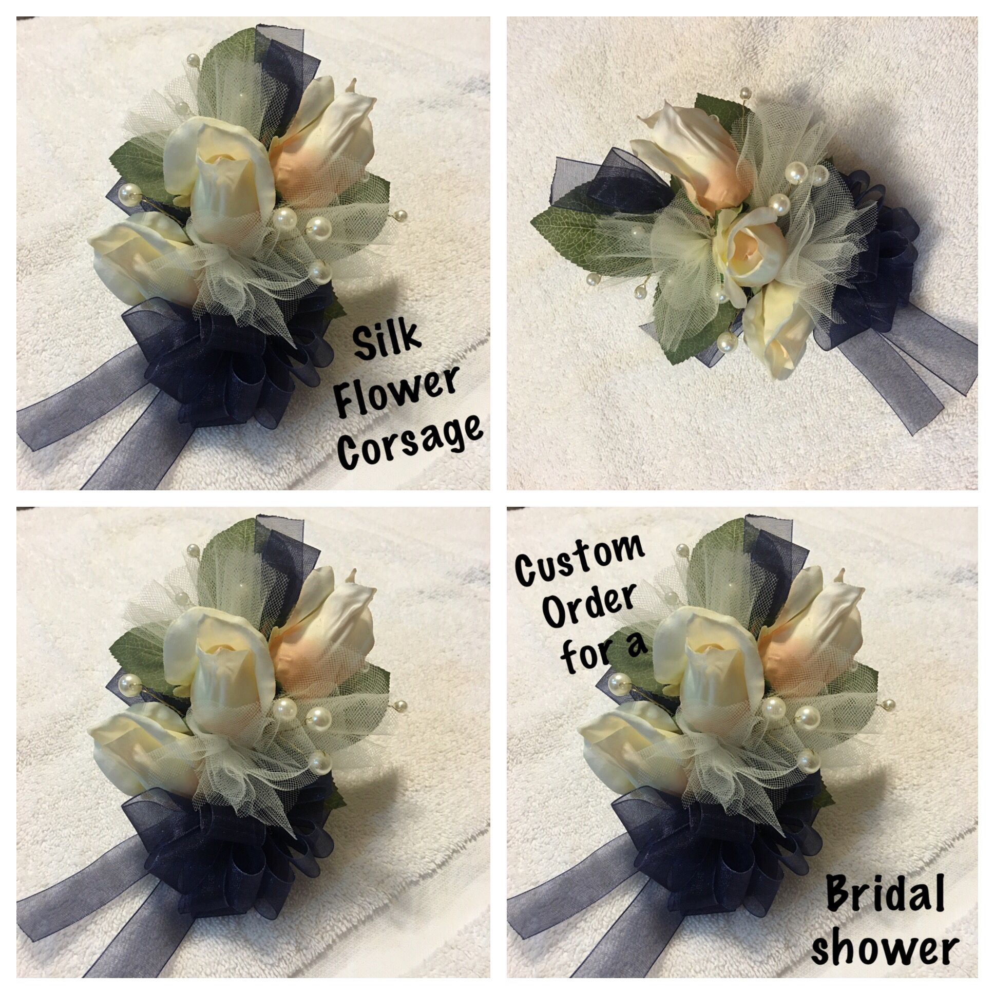Bridal Shower Silk corsage by RCD Creations Starting at $12 & up