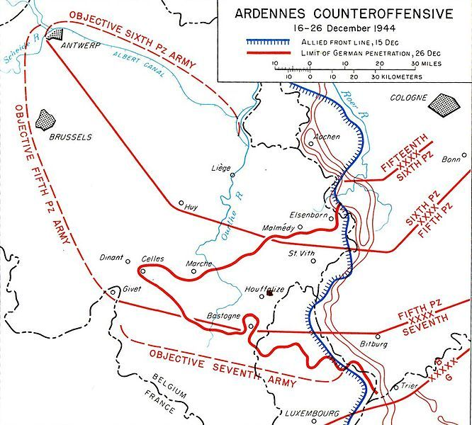 battle of the bulge map of the wacht am rhein objectives and the actual german progress during the ardennes offensive