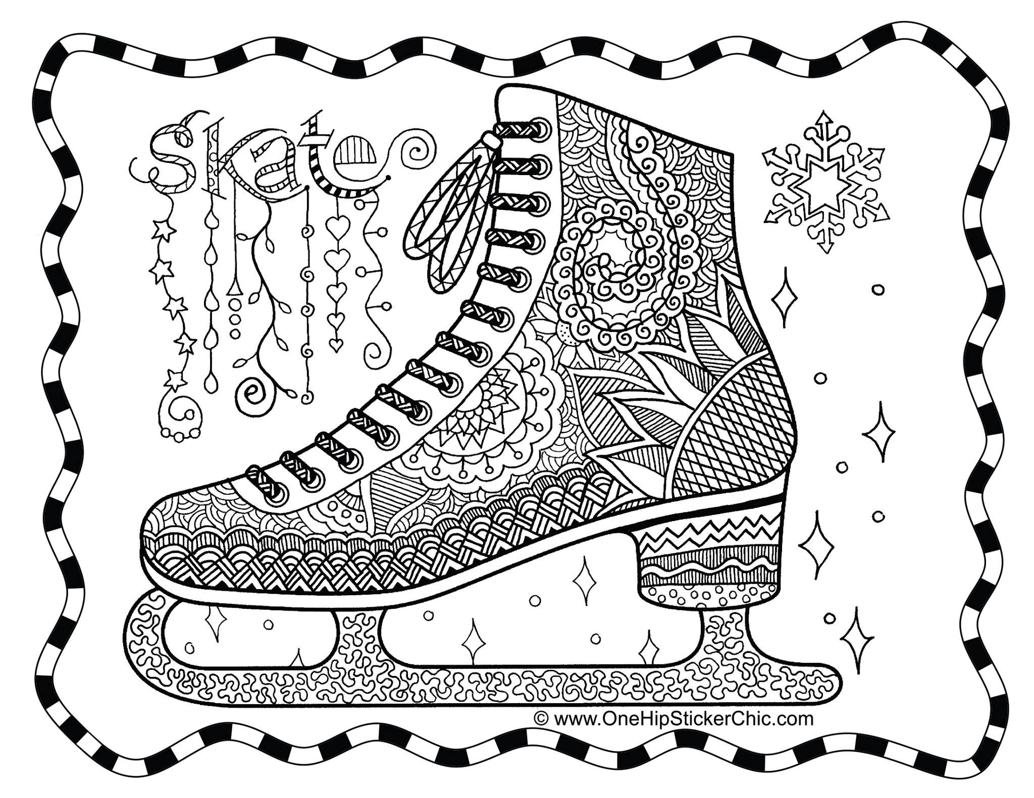 Ice Skate Zentangle Colouring Page Girls Bags Coloring Pages