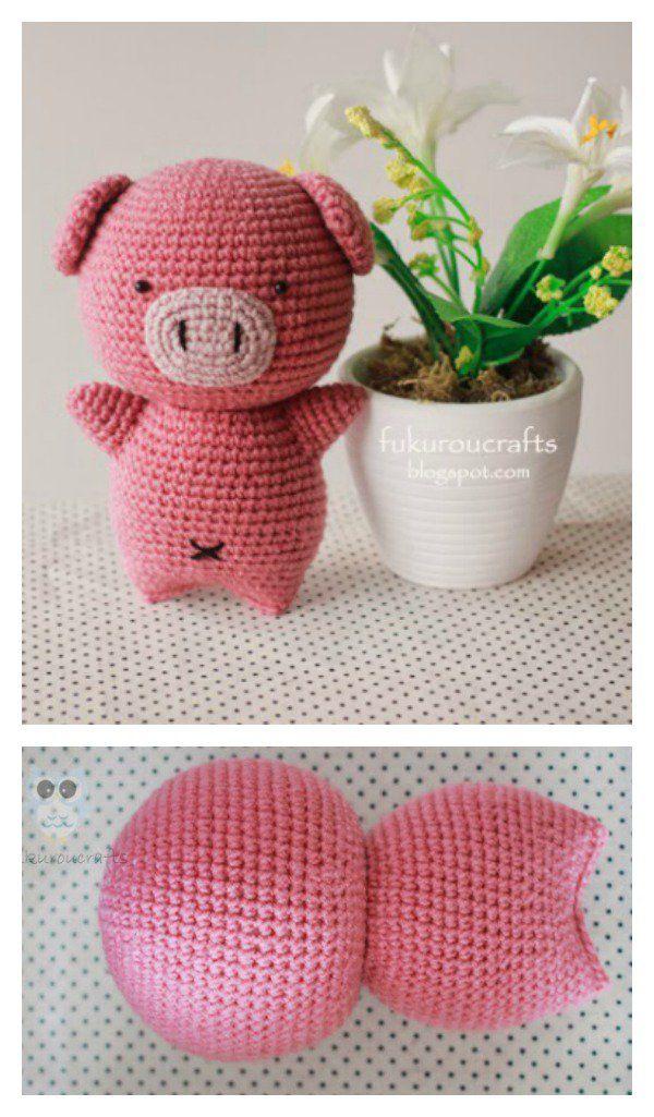 Crochet Amigurumi Pig Free Patterns | Schweinchen, Amigurumi und Puppe