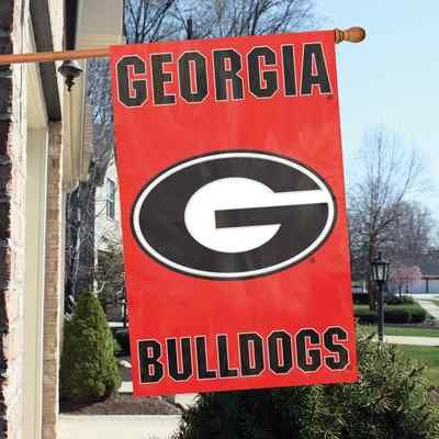 "Georgia Bulldogs 44"" x 28"" Applique and Embroidered 2-Sided Flag Visit our website for more: www.thesportszoneri.com"
