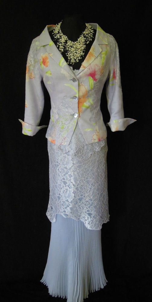 RENATO NUCCI (French Designer, but Italian born!) Pale Blue/Lilac Lace and Pleated Skirt, Lace Top and Blue/Lilac and Peach, Pink & Green Floral and Lace Jacket, Size UK8