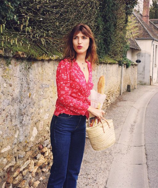 e6914b6d03a shirt rouje floral shirt red shirt v neck french girl style jeanne damas  jeans denim blue jeans bag straw bag necklace rouje.com