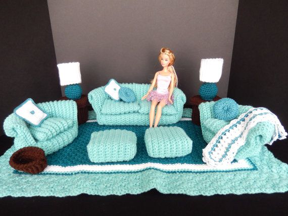 Cool Crochet Barbie Doll Furniture Green Teal pc von KLaccents
