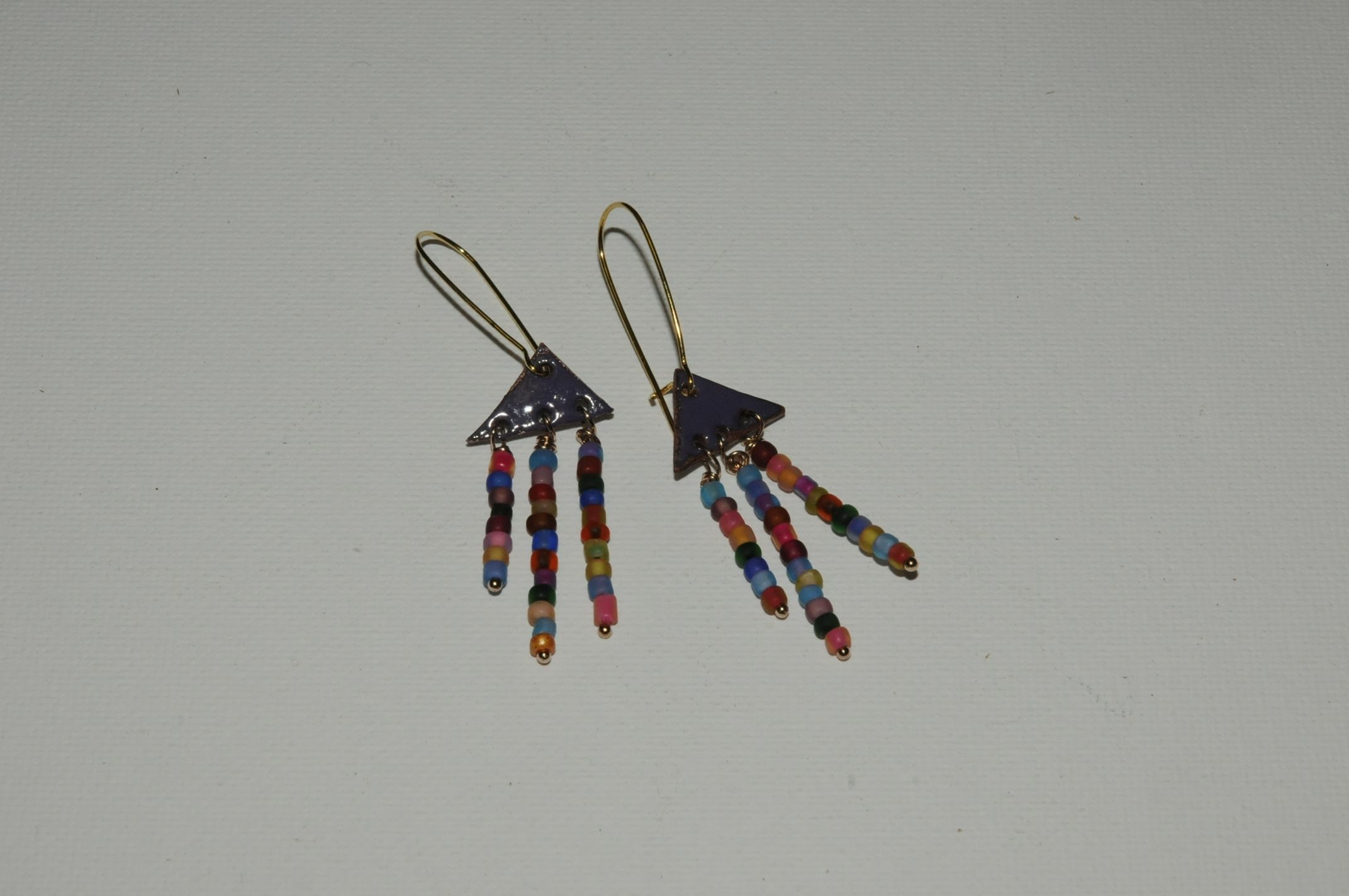 Enamelled Earrings with glass beads