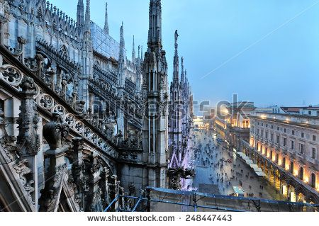 MILAN, ITALY - CIRCA FEB 2014: View from Milan Cathedral on the square with Galleria Vittorio Emanuele with unidentified people circa Feb 2014 in Milan. The cathedral is the main landmark of Italy. - stock photo