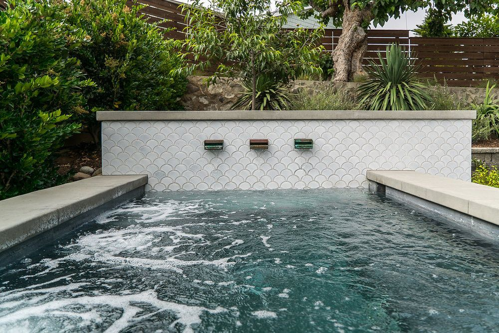 Pool Tile Up The Retaining Wall Pool Landscape Design Pool Water Features Pool Remodel