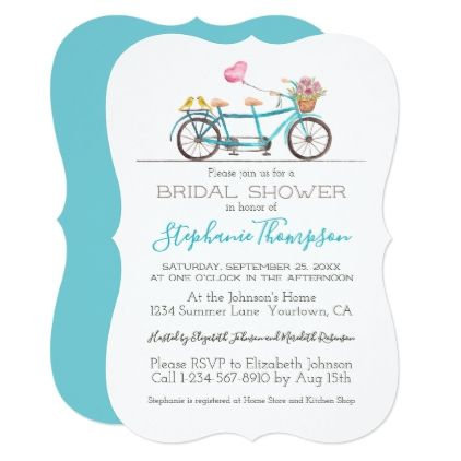 Watercolor tandem bicycle bridal shower invitation personalize watercolor tandem bicycle bridal shower invitation personalize gift idea special custom diy or cyo filmwisefo Choice Image