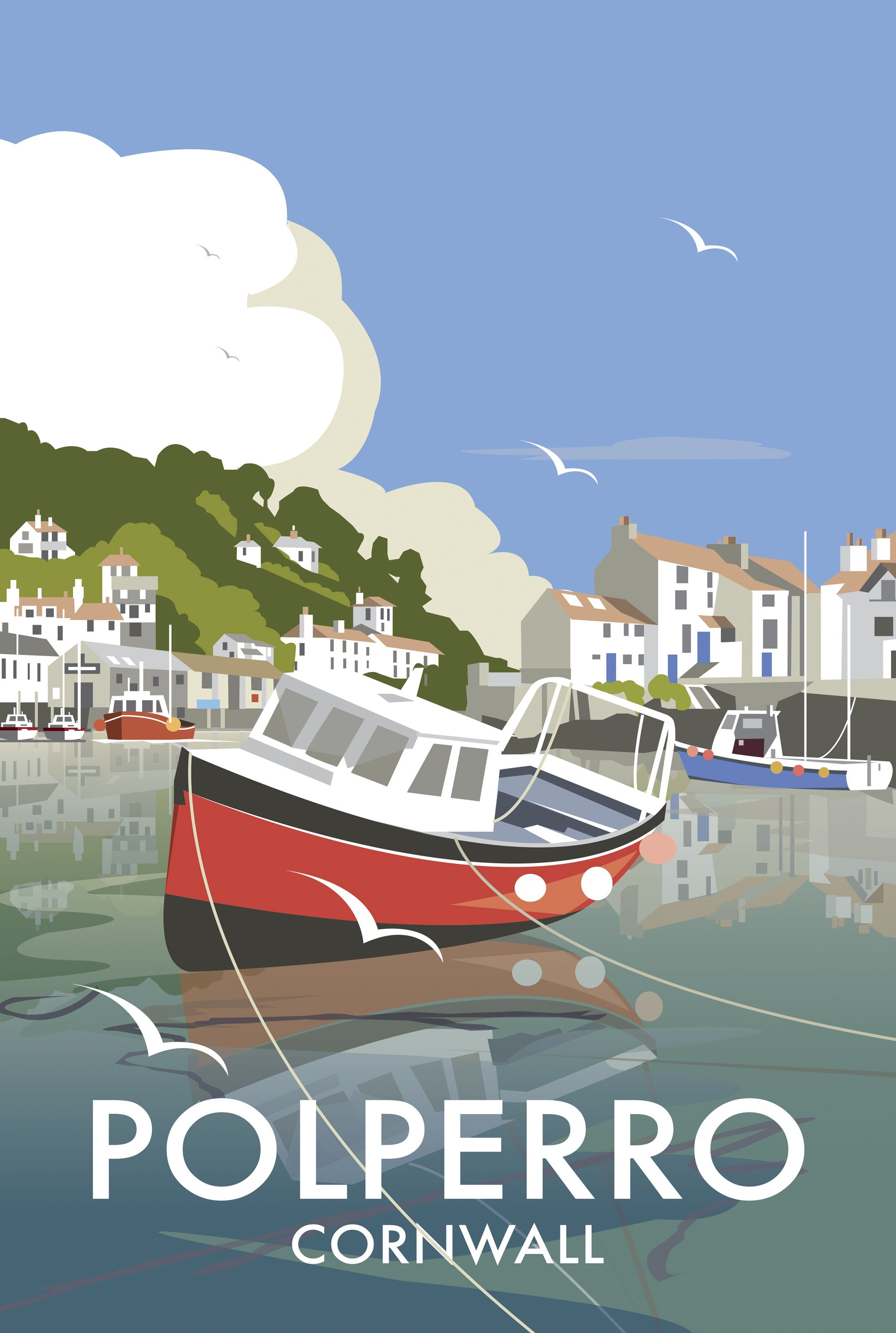 Polperro (DT07) Beach and Coastal Print http://www.thewhistlefish ...