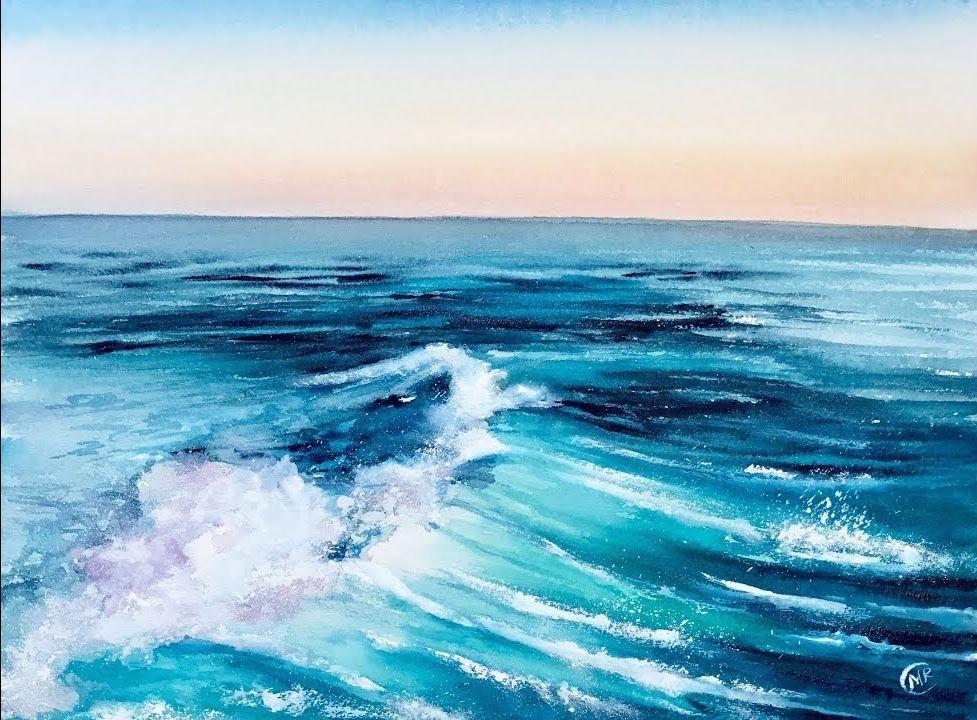 Maria Raczynska Watercolour Demo Waves At Sea 1 Watercolor