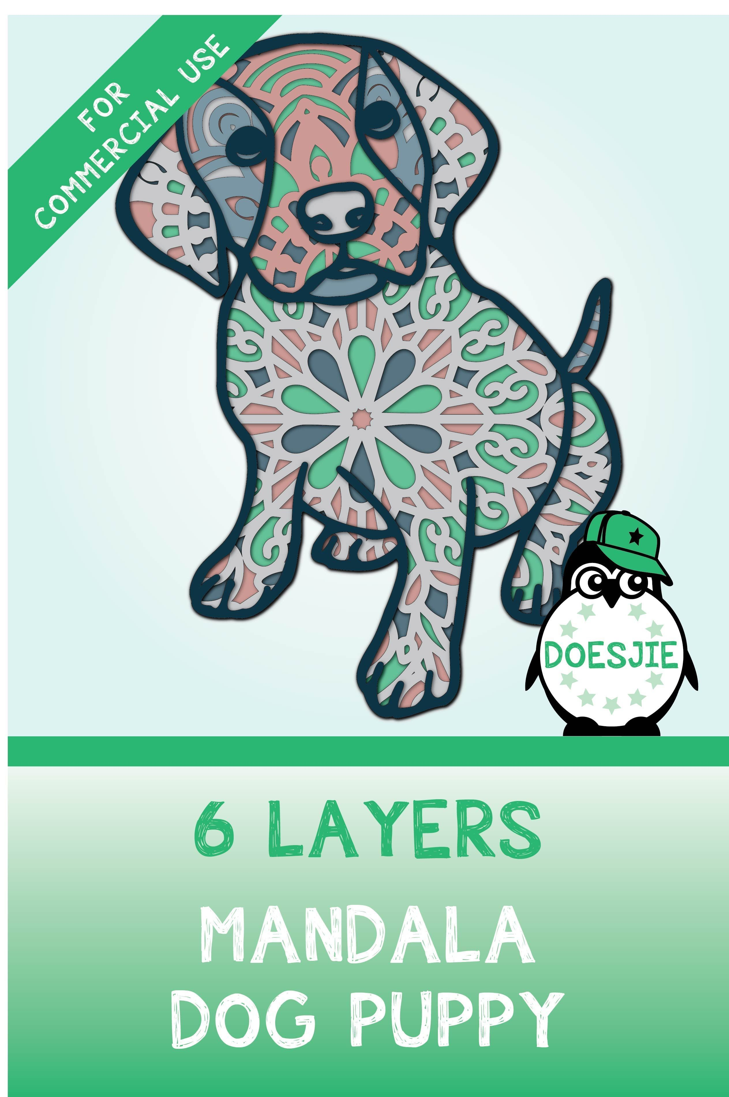 Download 3D Multi layer mandala cute dog puppy SVG in 2020   Vinyl ...