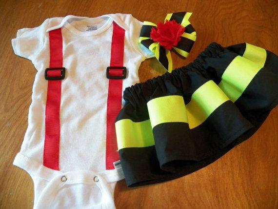 Firefighter Baby Girl Outfit BLACK with RED by