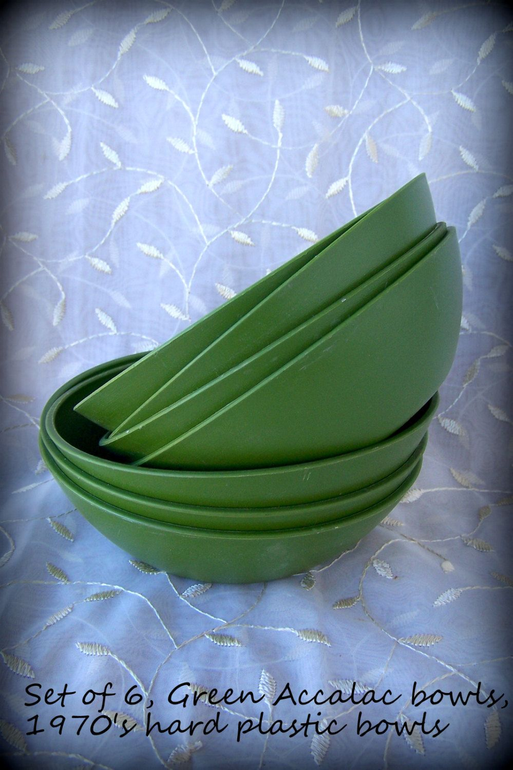 Durable soup bowls 1970's Accalac bowls Green hard plastic with brushed texture on outside and a smooth finished  Vintage kitchenware by STUFFEZES on Etsy