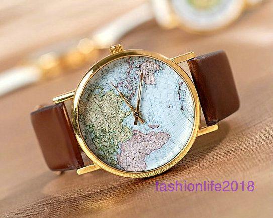 9e142be26d96 Relojes de pulsera mapa reloj relojes Unisex moda reloj Mens mundo mujeres  relojes novio de regalo el mejor regalo de Navidad Watch-W005