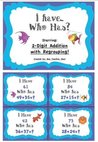 2 Digit Addition With Regrouping I have...Who has? Game | Pinterest ...