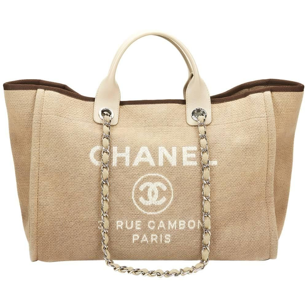56bc265ce52 2013 Chanel Beige Canvas Large Deauville Tote in 2019 | Epic Vintage ...