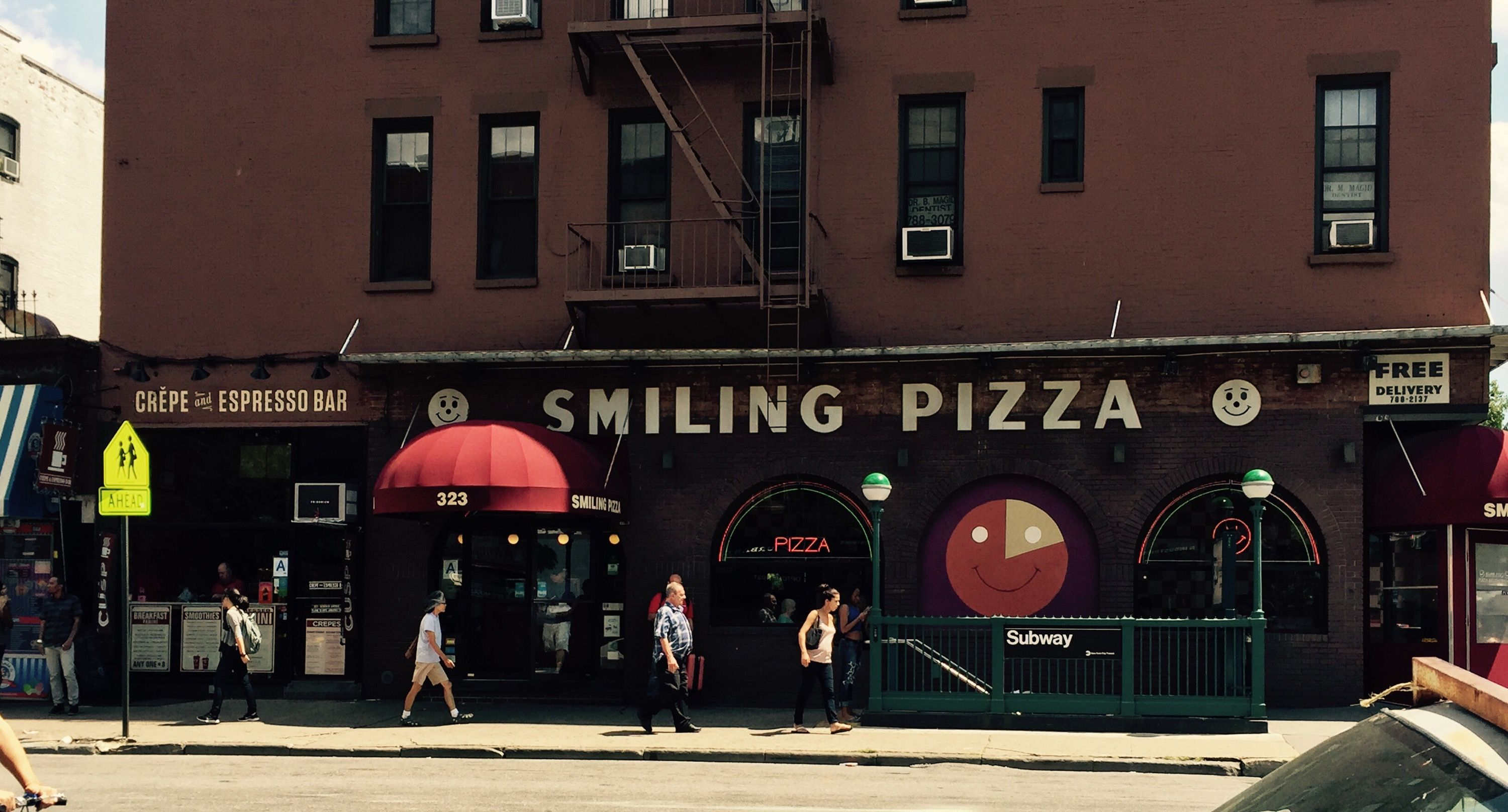 Smiling Pizza Pizza, Pizza delivery, Park slope brooklyn