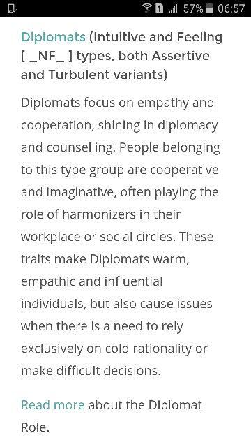 Diplomats: NF   16 Personalities