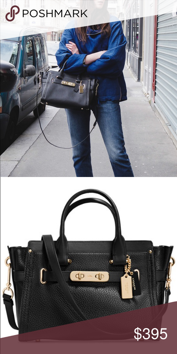 Coach Swagger 27 Black pebbled leather with light gold hardware ... e6576480fa