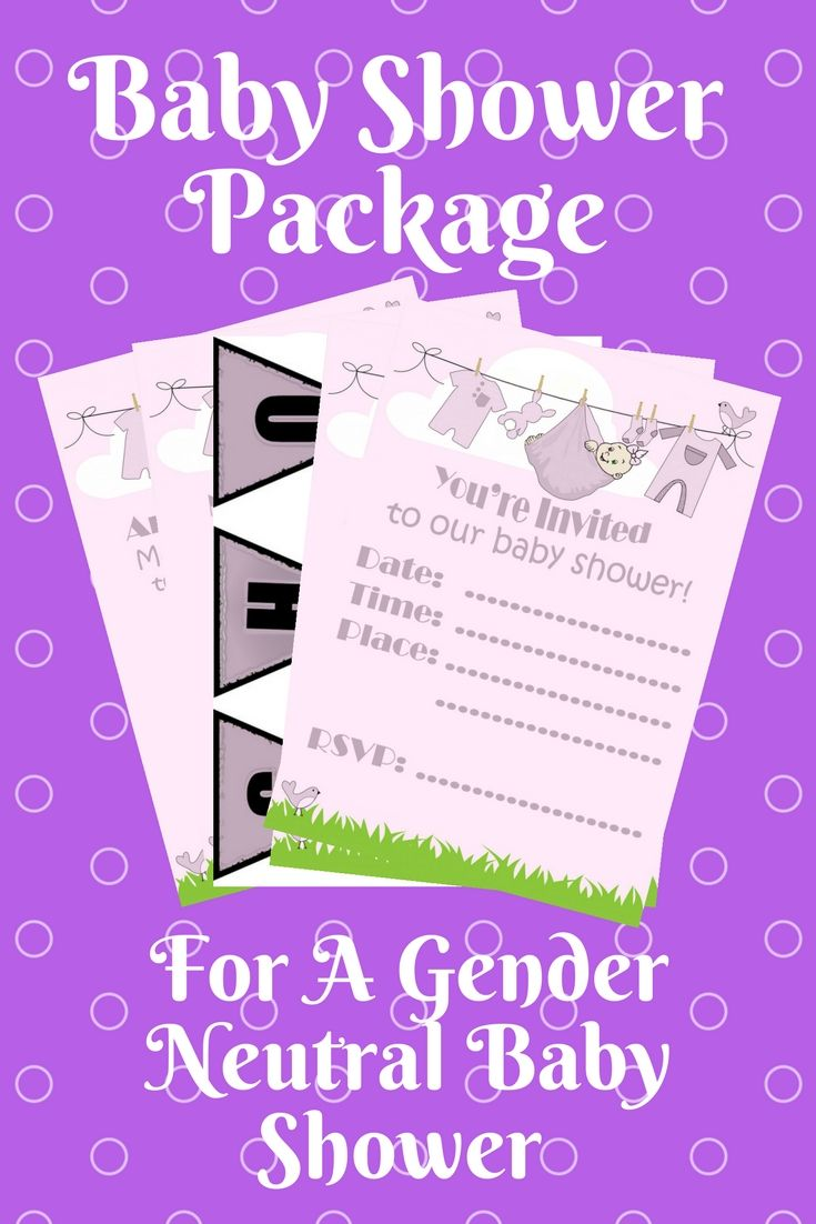 Baby Shower Package Printables Gender Neutral Purple Invitations