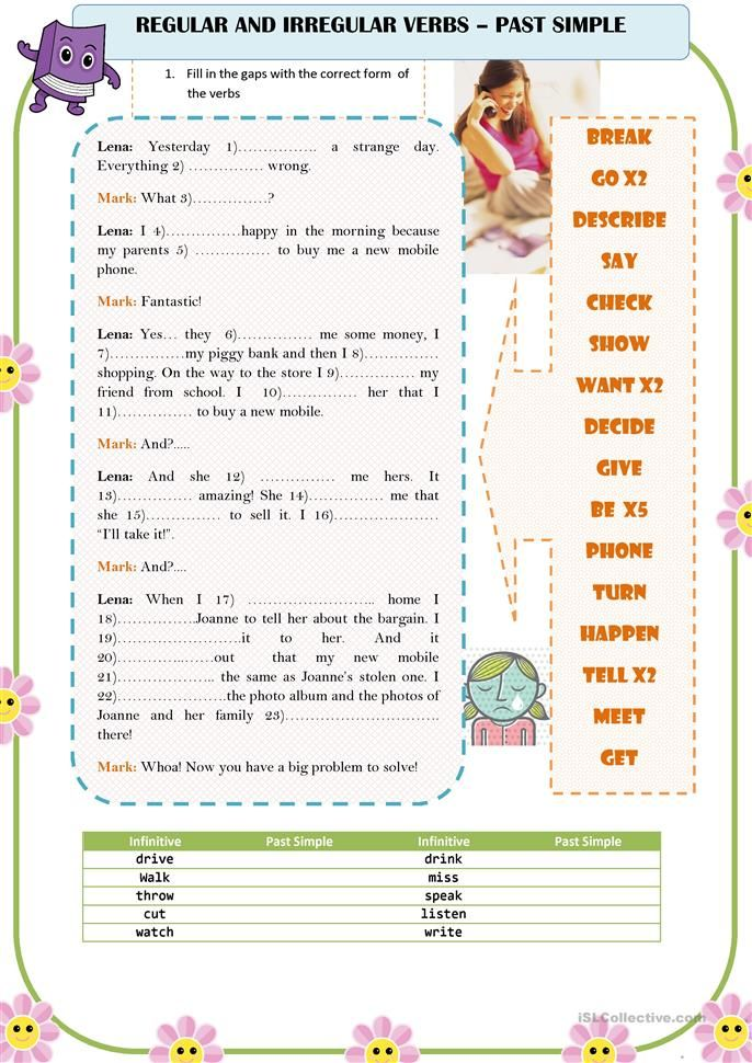 past simple irregular verbs list elementary pdf