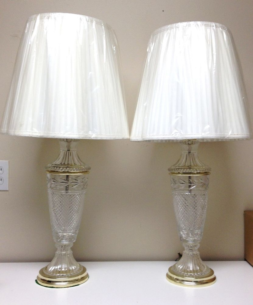 Vintage Pair Beautiful Lead Crystal Glass Table Lamps, Waterford ...