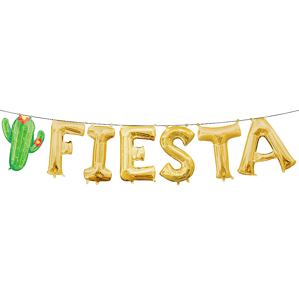 AirFilled Gold Fiesta Letter Balloons 7pc in 2020
