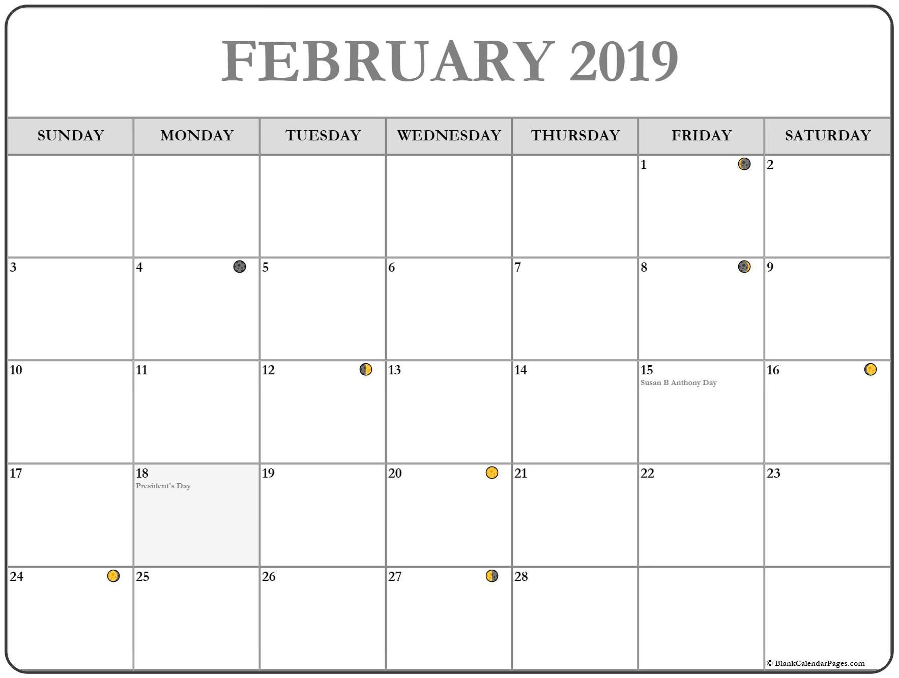 February 2019 Calendar Moon Phases August Calendar 2019 Calendar Calendar Printables