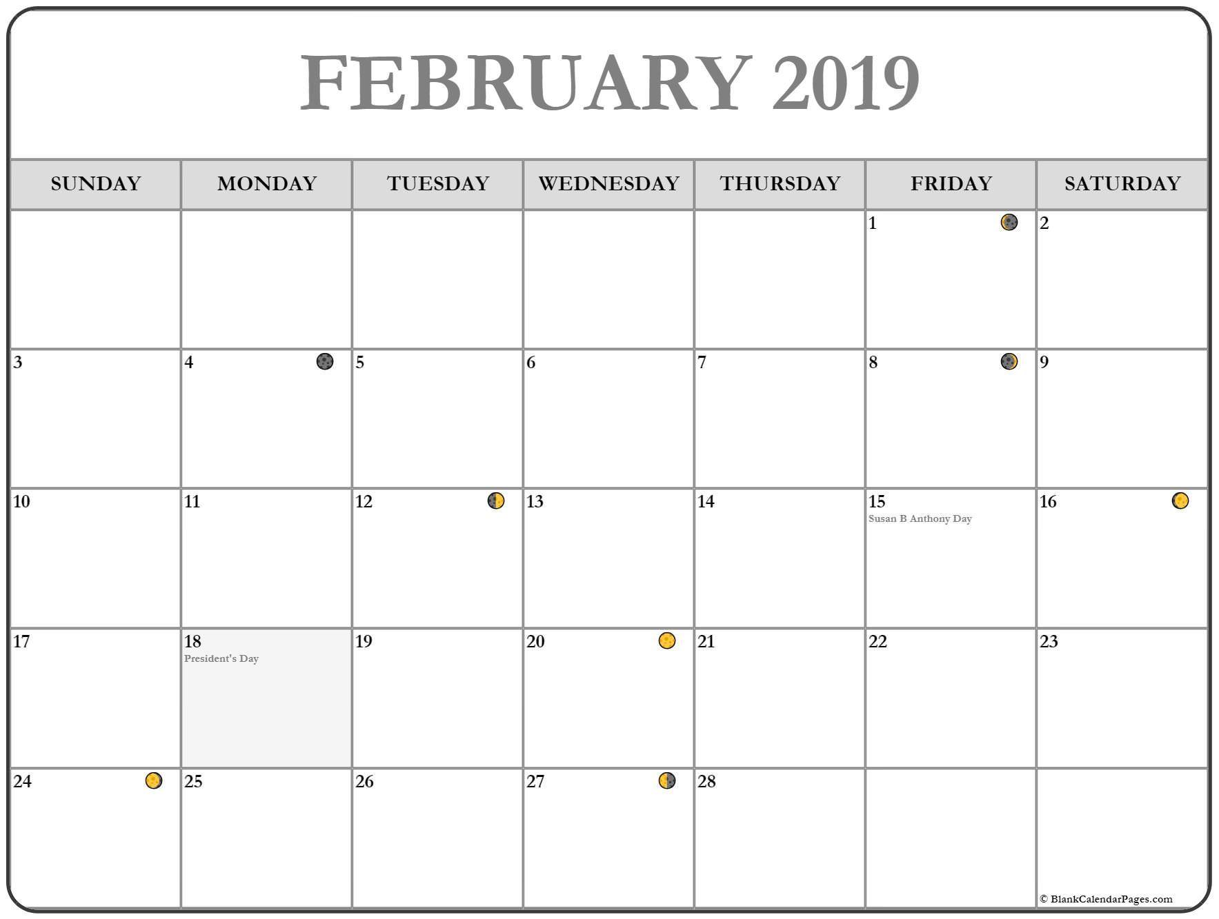 Calendar 2019 February Moon Phase February 2019 Calendar Calendar2019 February2019 Moon Phase Calendar Moon Calendar Calendar Printables