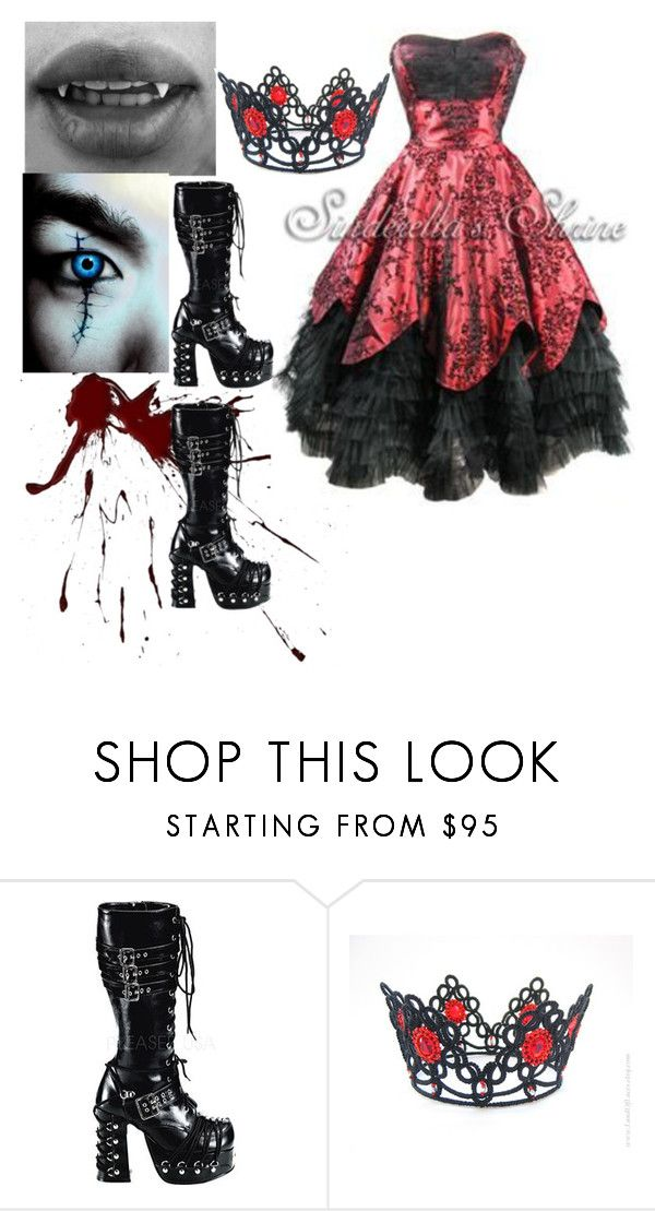 """""""Vampire queen"""" by shaya-bvb-4-life ❤ liked on Polyvore featuring Hell Bunny and Demonia"""