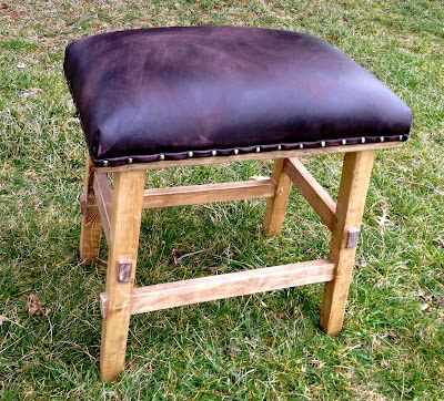 Diy Leather And Nailhead Stool Leather Stool Diy Stool