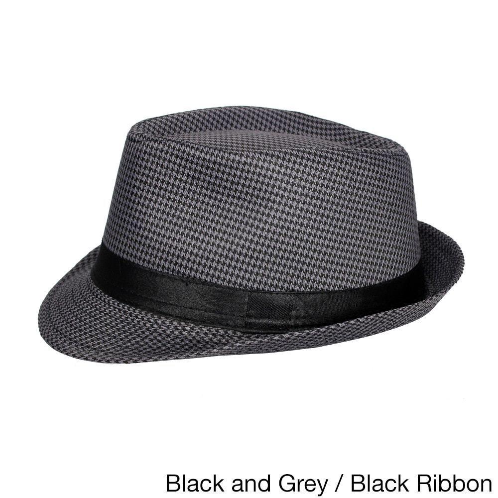 0b72abb3 E.M.P Cuban Style Unisex Fedora Short Brim Hat (Black/Grey), Size One Size  Fits Most (polyester)