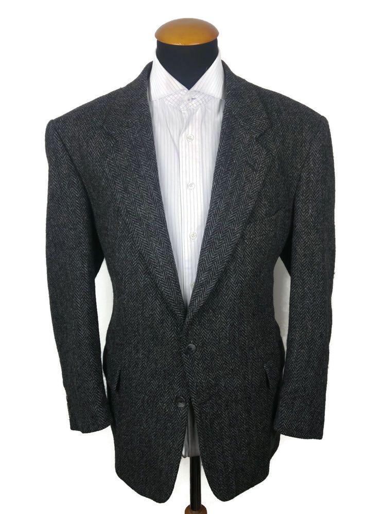 Buttonhole Harris Tweed Sakko gr 27 Grau Wolle Fischgrät Jacket Blazer size 44S