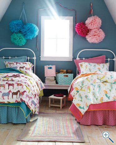 Girls Bedroom Blue And Pink 22 adorable girls shared bedroom designs | pony, girly and mermaid