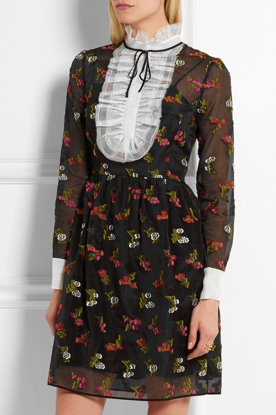 Erdem - Katy fil coupé silk-organza mini dress