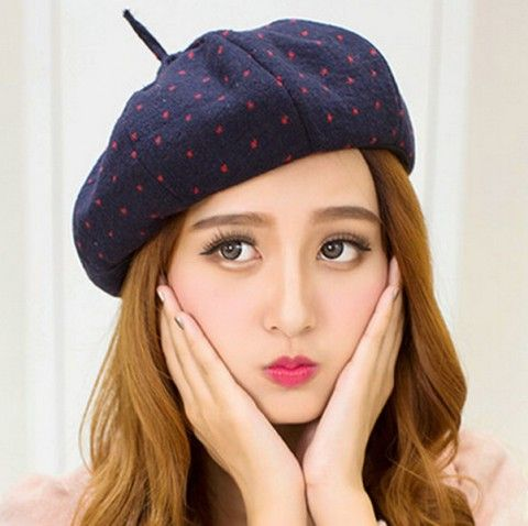 Cheap polka dot French beret hat for girls winter wool hats  51634403810