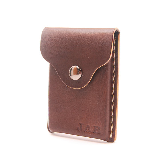 Personalized Handmade Leather Business Card Holder Card от EchoSix - resume holder