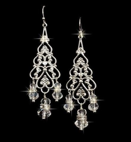 Bridal Silver Chandelier Earrings With Swarovski Crystals And Rhinestones