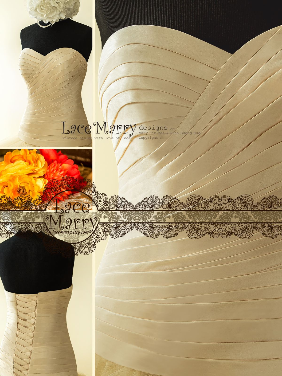 Wedding dress cups  Bra Cups and Boning inside the Bodice as well as Functional Lace Up