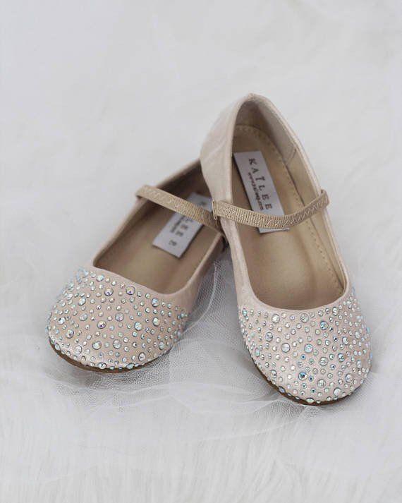 Girls Infant shoes CHAMPAGNE Satin Maryjane Flats With Rhinestones  Embellishment