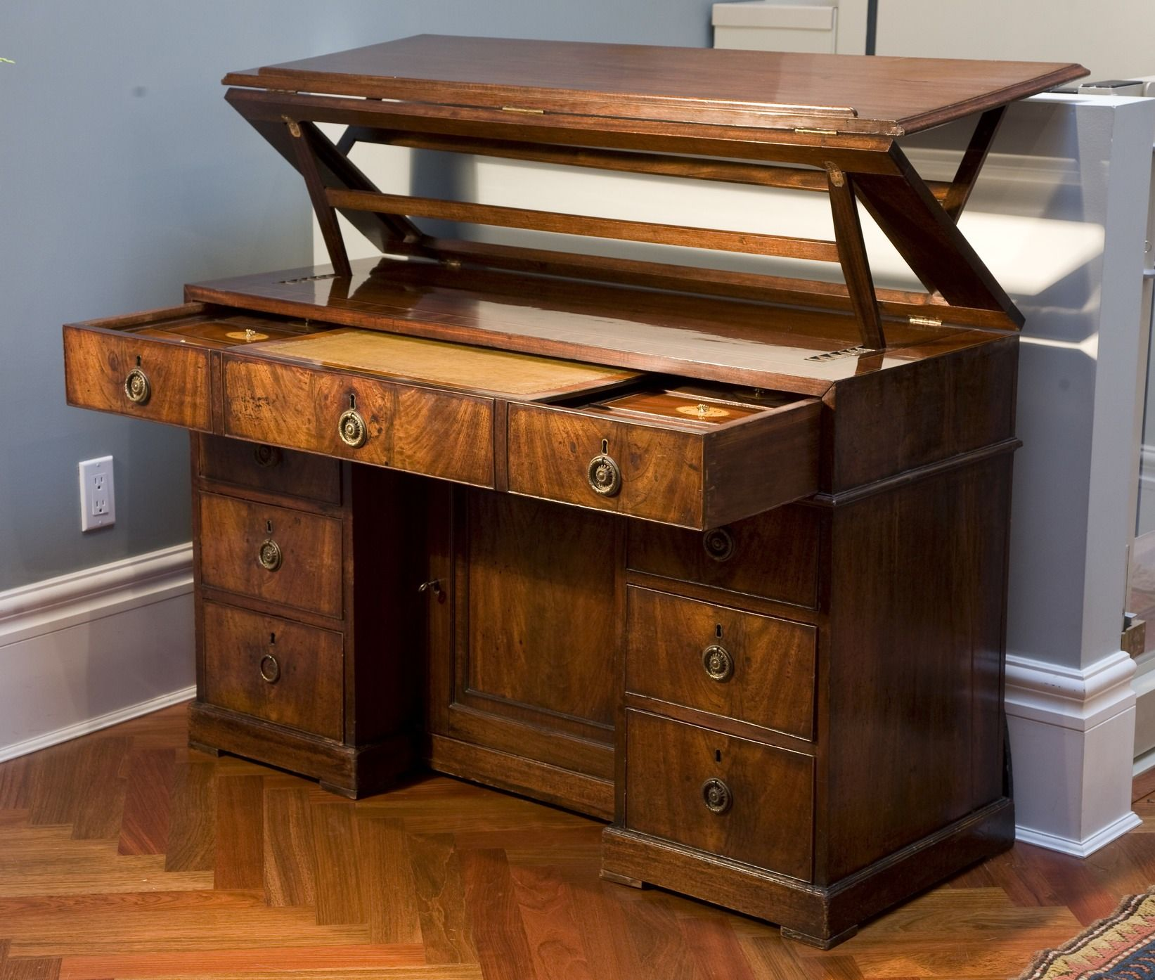 Antique George Iii Mahogany Architect S Desk Circa 1790 In The