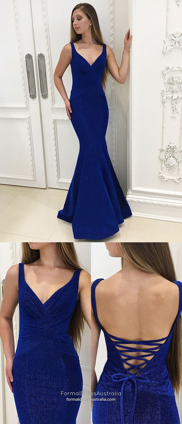 Long formal dresses open back mermaid prom dresses royal blue
