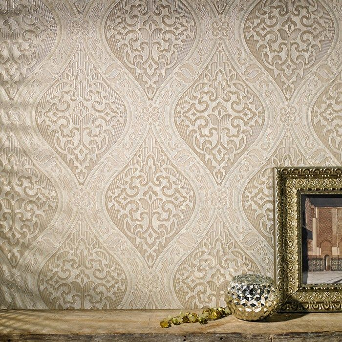 Labyrinth damask wallpaper designer cream wall coverings by graham brown