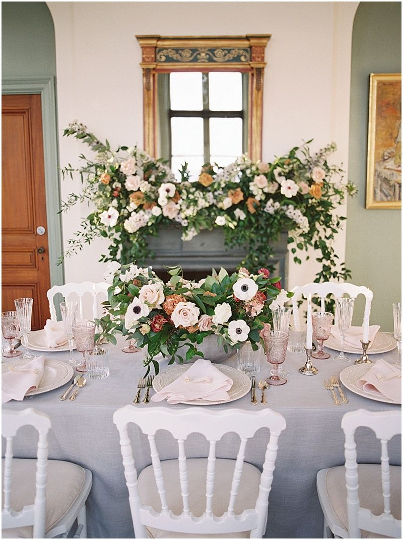 Lush Mansion Wedding Misselwood Estate Wedding Pink And White Table Setting Blush And Greene Misselwood Weddings White Table Settings Bridal Styled Shoot