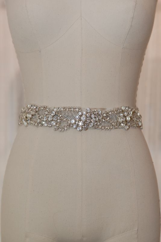 fully beaded crystal belt on antique ivory foiled band with bow detail in backl- Sarah Houston