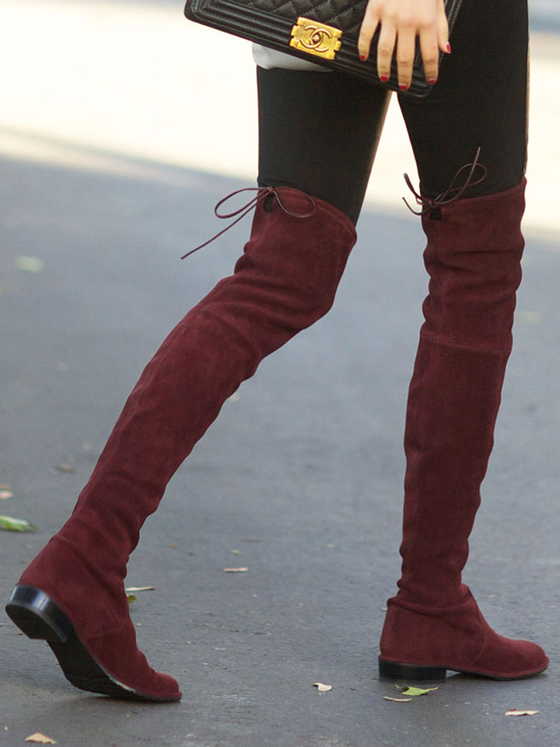 Shop Burgundy Suedette Pointed Laced Back Over The Knee Flat Boots ...